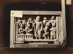 Sculpture slab from Mian Khan, Peshawar District: Buddha meeting Nagas